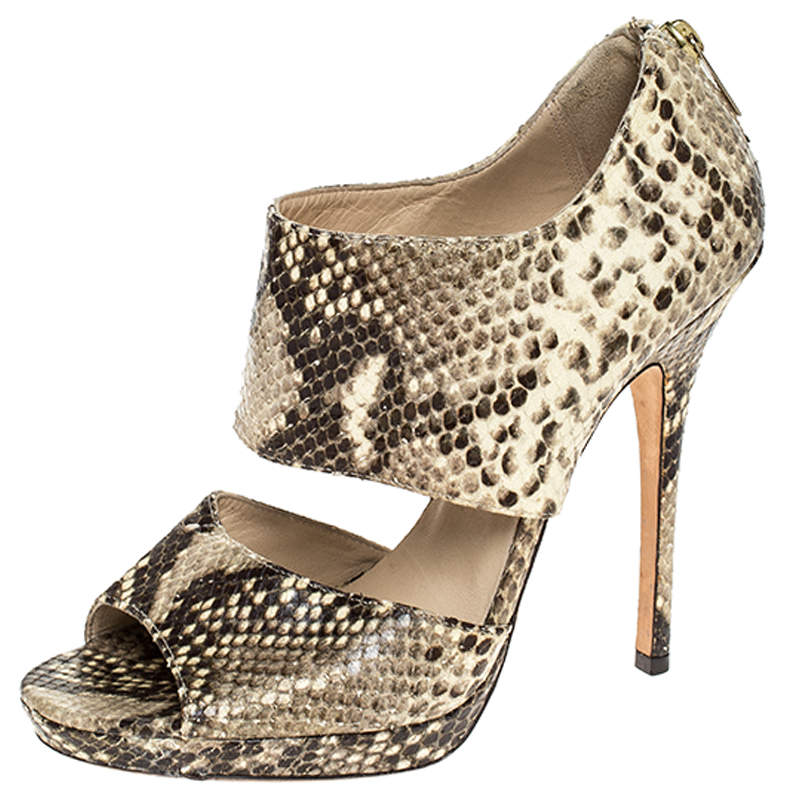 Jimmy Choo Yellow/Brown Python Embossed Leather Private Peep Toe Sandals Size 38