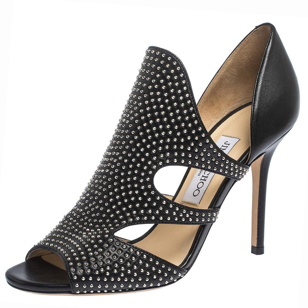 Jimmy Choo Black Leather Studded Tarine Peep Toe Sandals Size 38.5