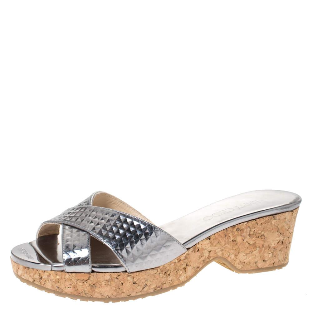 Jimmy Choo Metallic Silver Textured Leather Panna Cork Wedge Sandals Size 36