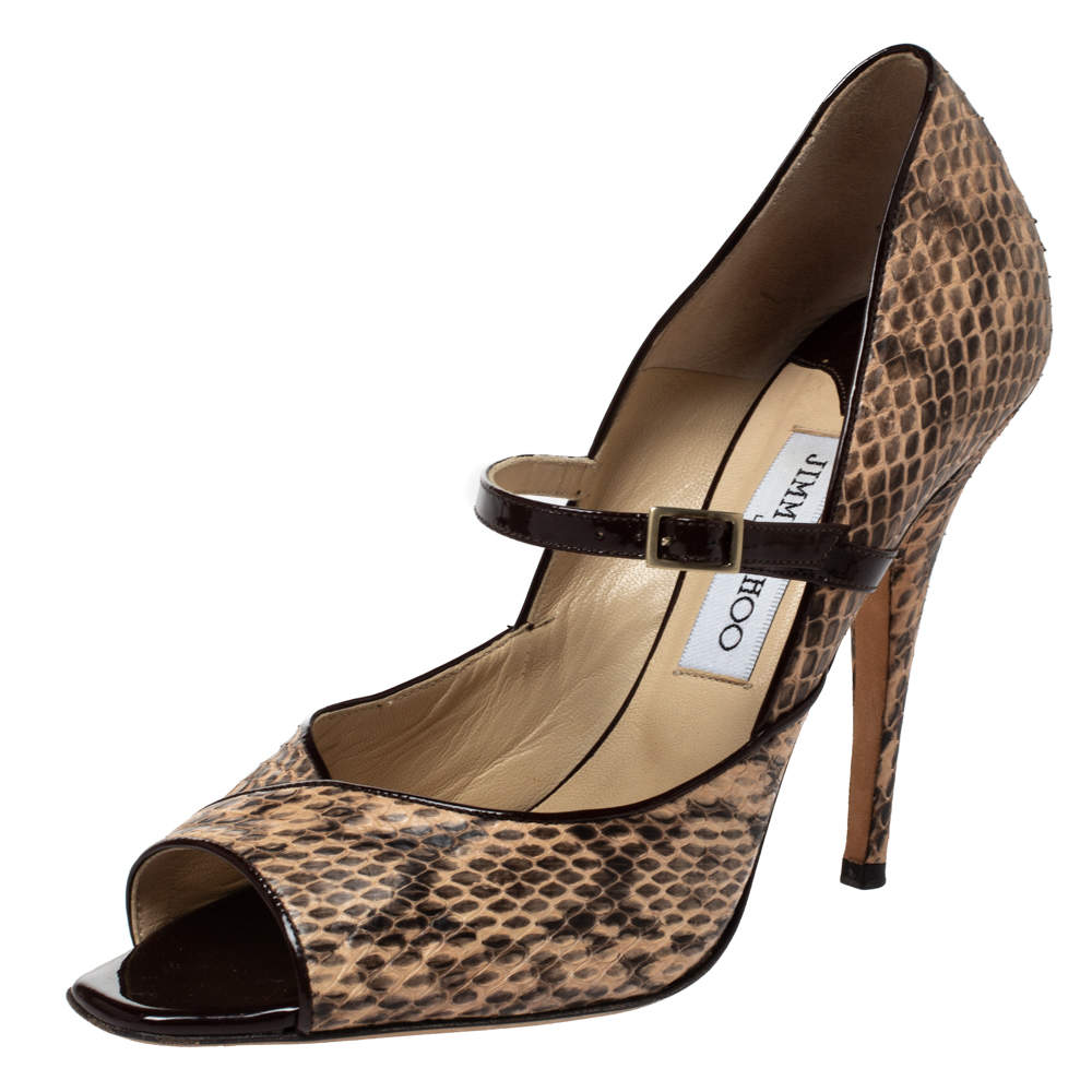 Jimmy Choo Multicolor Python Leather Mary Jane Peep Toe Pumps Size 39.5