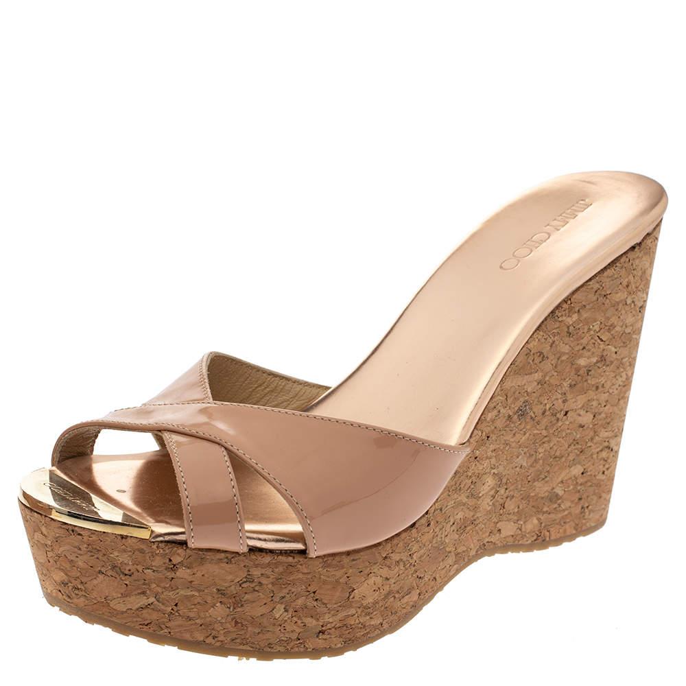 Lonia Shoes Kayla Tan Patent Leather Strappy Sandal