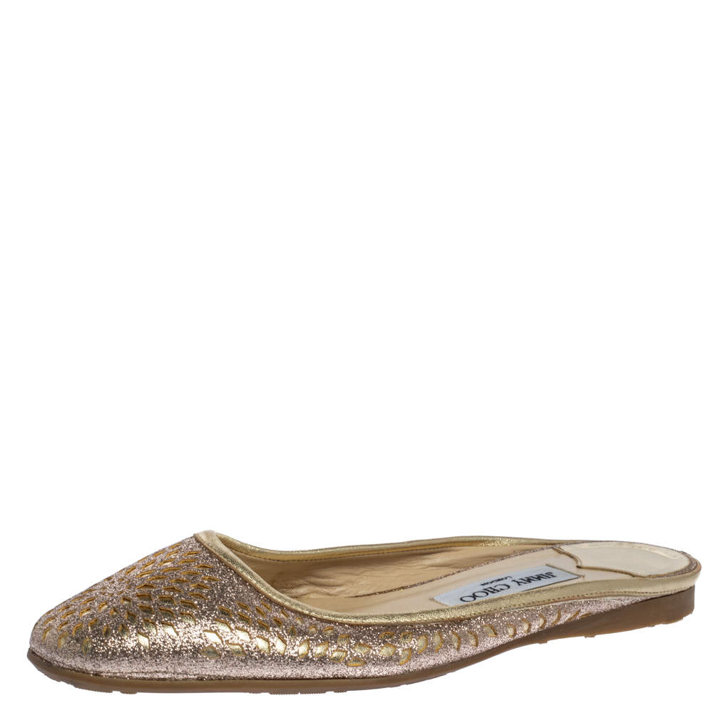 Jimmy Choo Shimmery Gold Laser Cut Leather Flat Mules Size 38.5