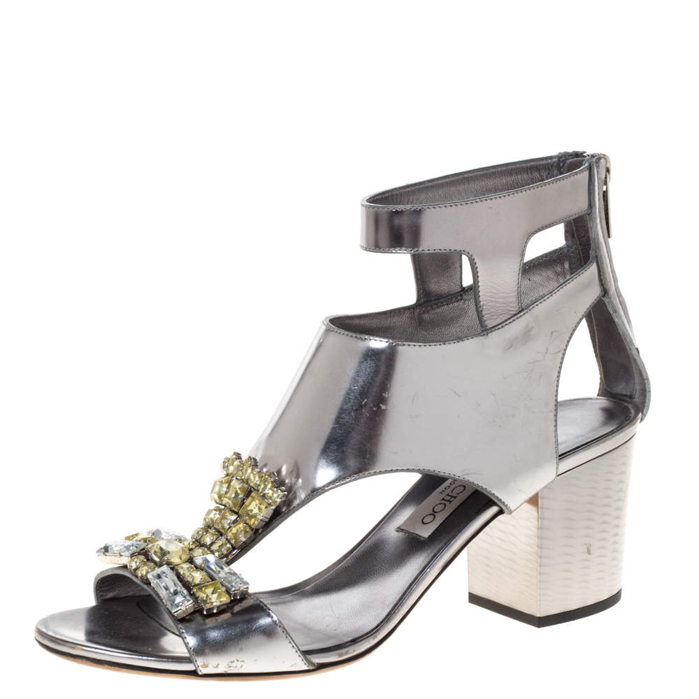 Jimmy Choo Metallic Silver Leather Crystal Embellished Cutout Block Heel Sandals Size 39