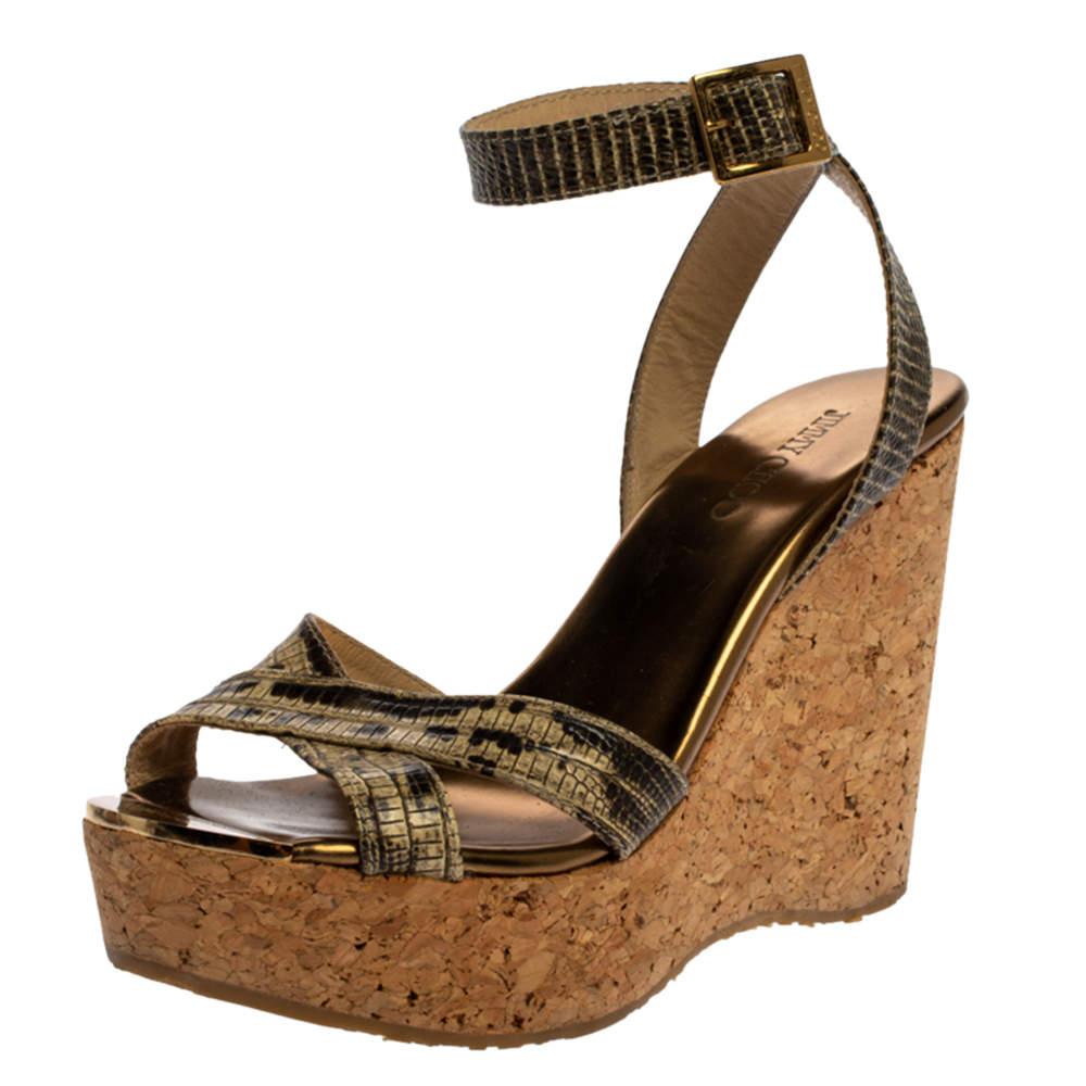 Jimmy Choo Gold/Beige Lizard Embossed Leather Cork Wedge Platform Ankle Strap Sandals Size 36