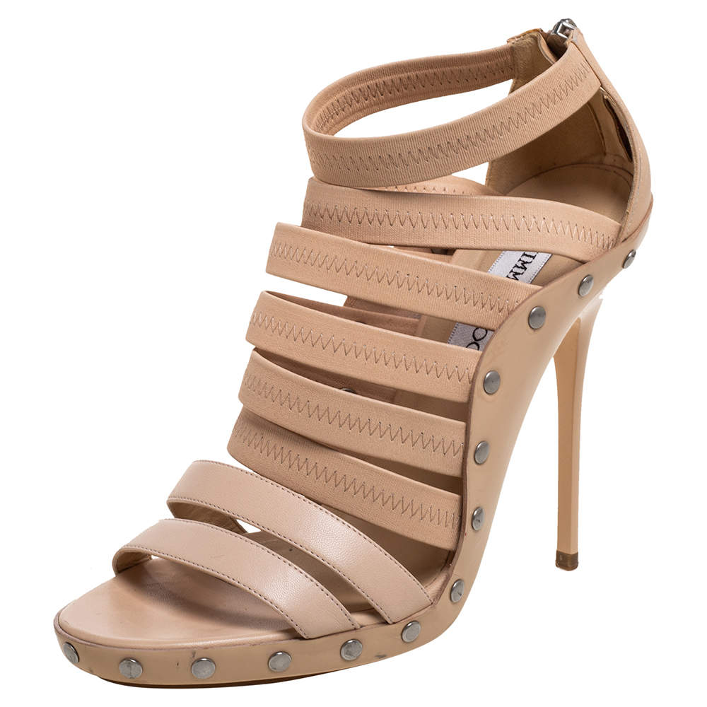 Jimmy Choo Beige Leather, Elastic And Patent Strappy 'Aston' Sandals Size 39.5