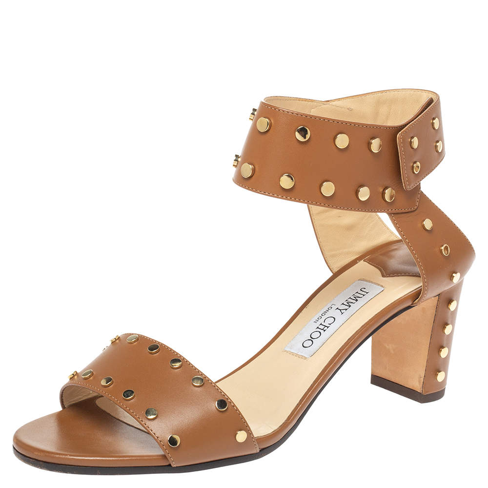 Jimmy Choo Brown Studded Leather Veto Ankle Strap Open Toe Sandals Size 39.5