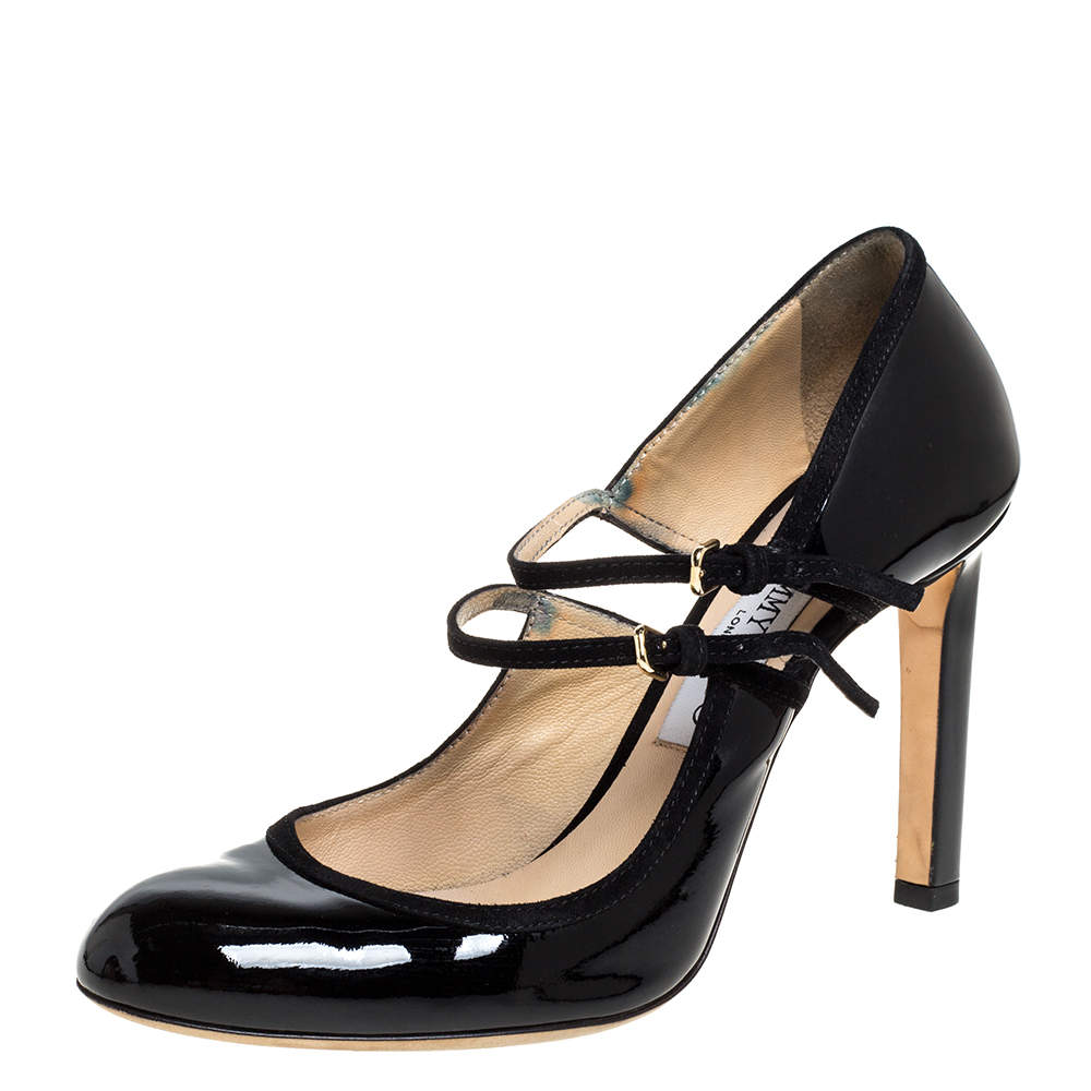 Jimmy Choo Black Patent Leather Mary Jane Pumps Size 38.5