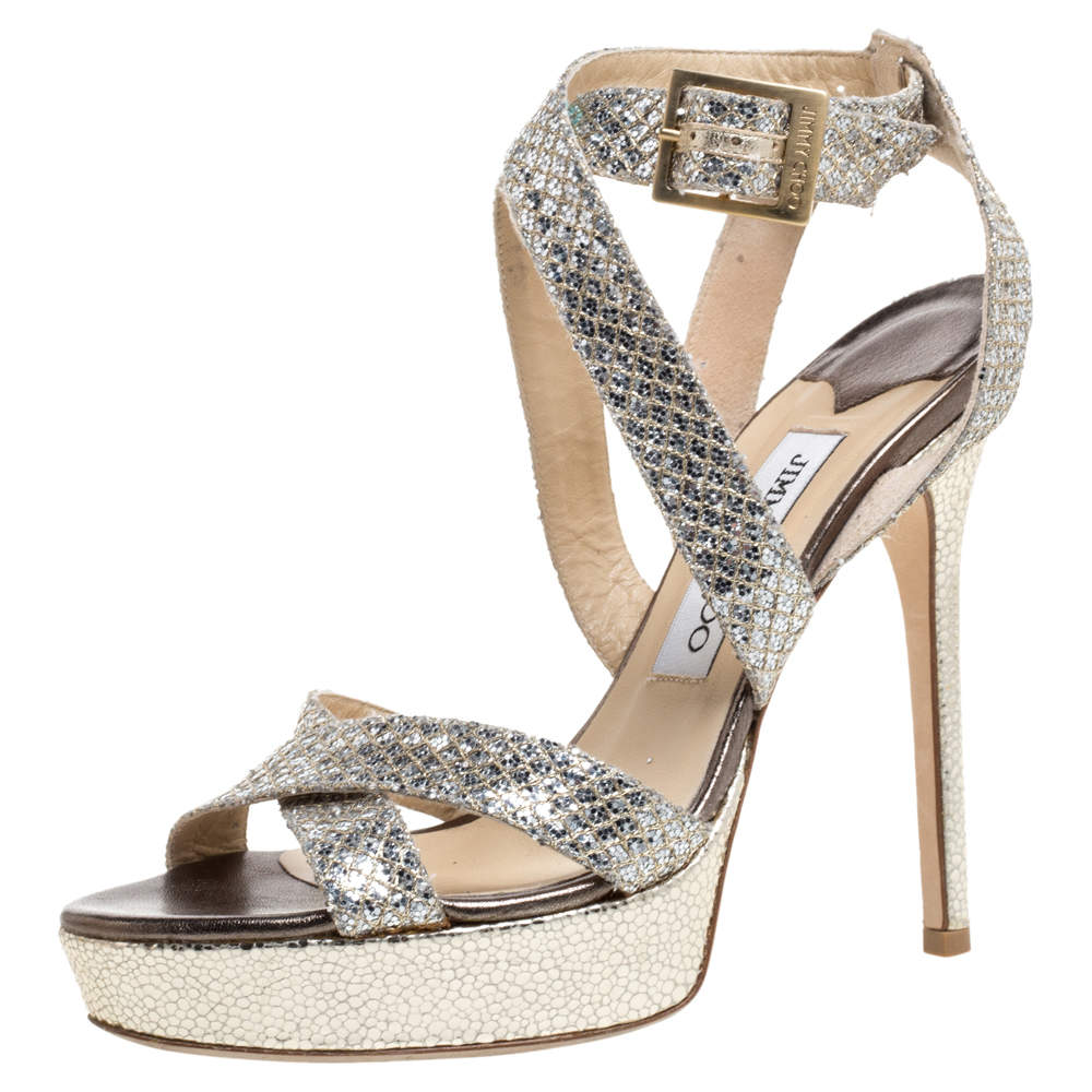 Jimmy Choo Silver/Gold Glitter Vamp Platform Sandals Size 37