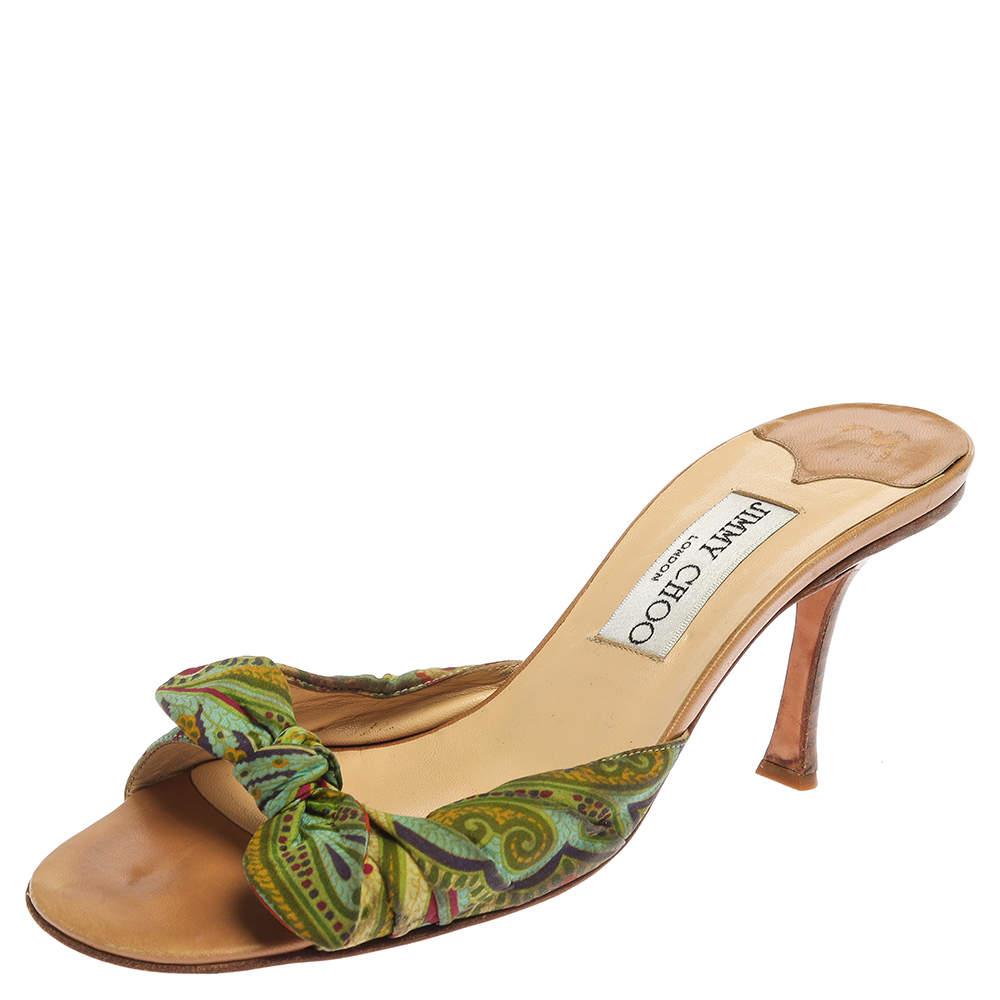 Jimmy Choo Multicolor Printed Satin Knot Slide Sandals Size 38