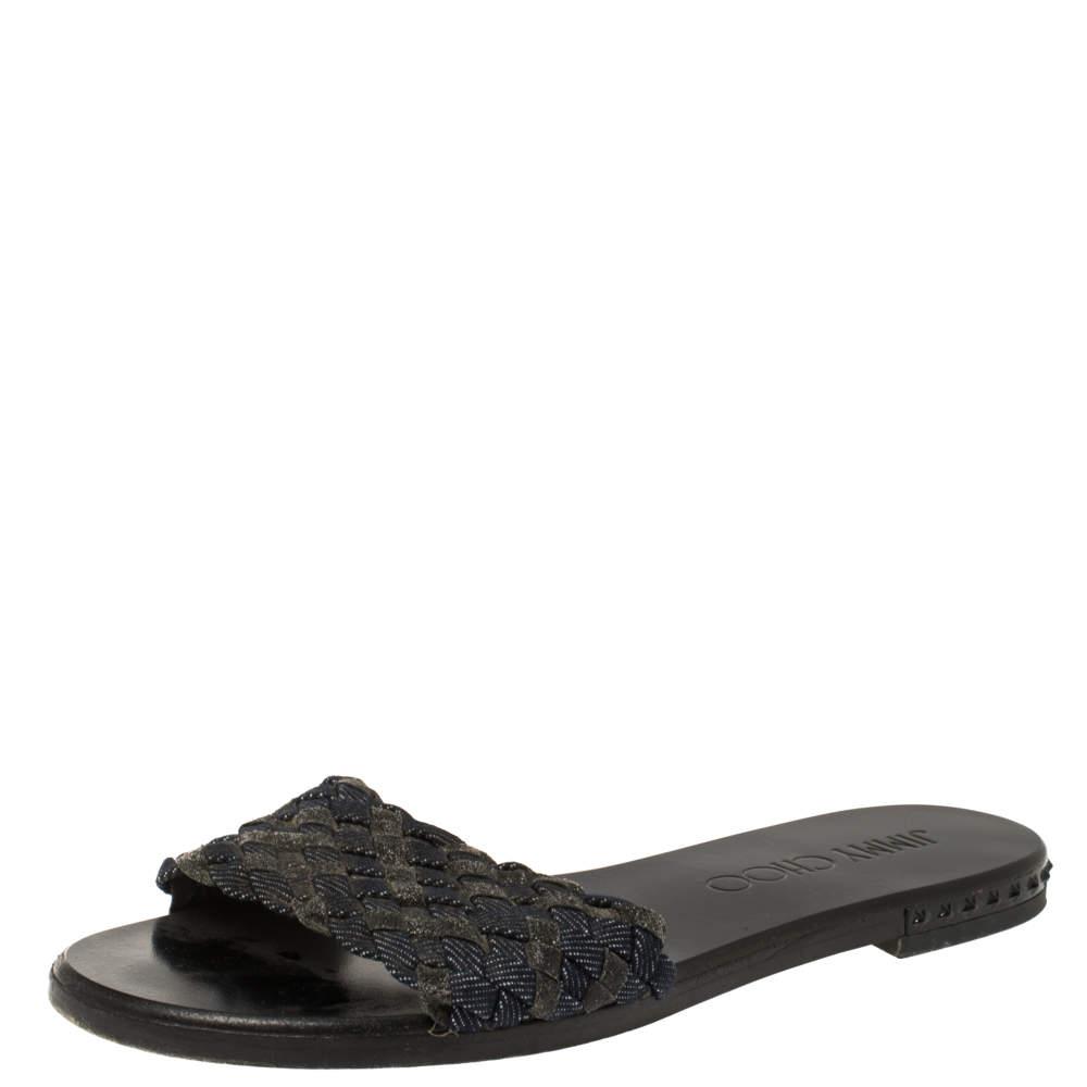 Jimmy Choo Blue/Grey Fabric and Glitters Slide Sandals Size 37