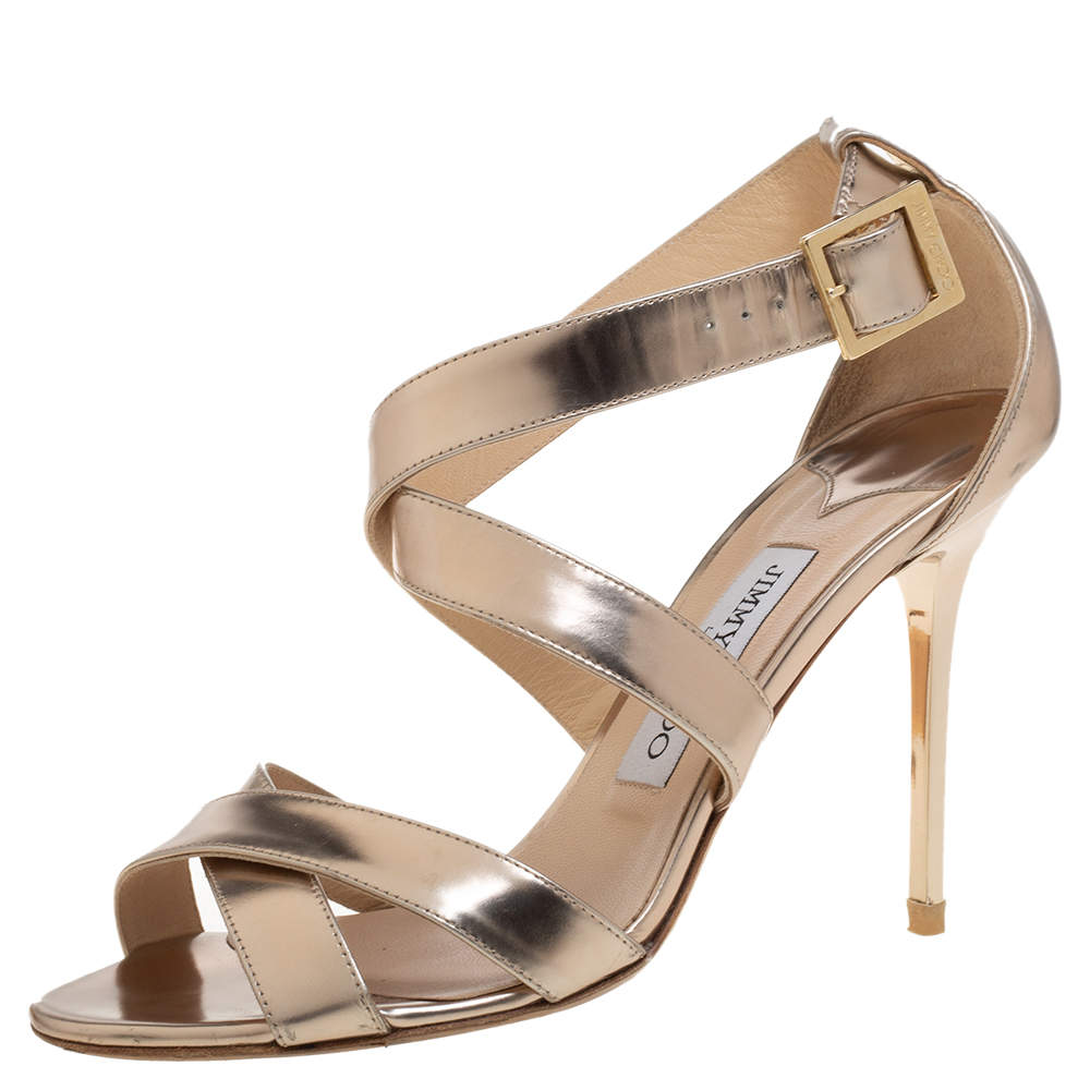 Jimmy Choo Metallic Gold Leather Lottie Cross Strap Sandals Size 38