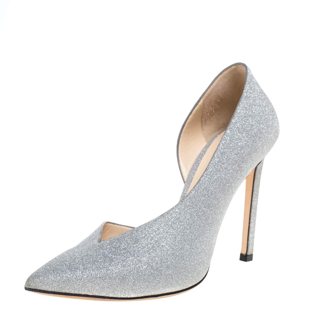 Jimmy Choo Silver Glitter Fabric Sophia D'orsay Pointed Toe Pumps 37