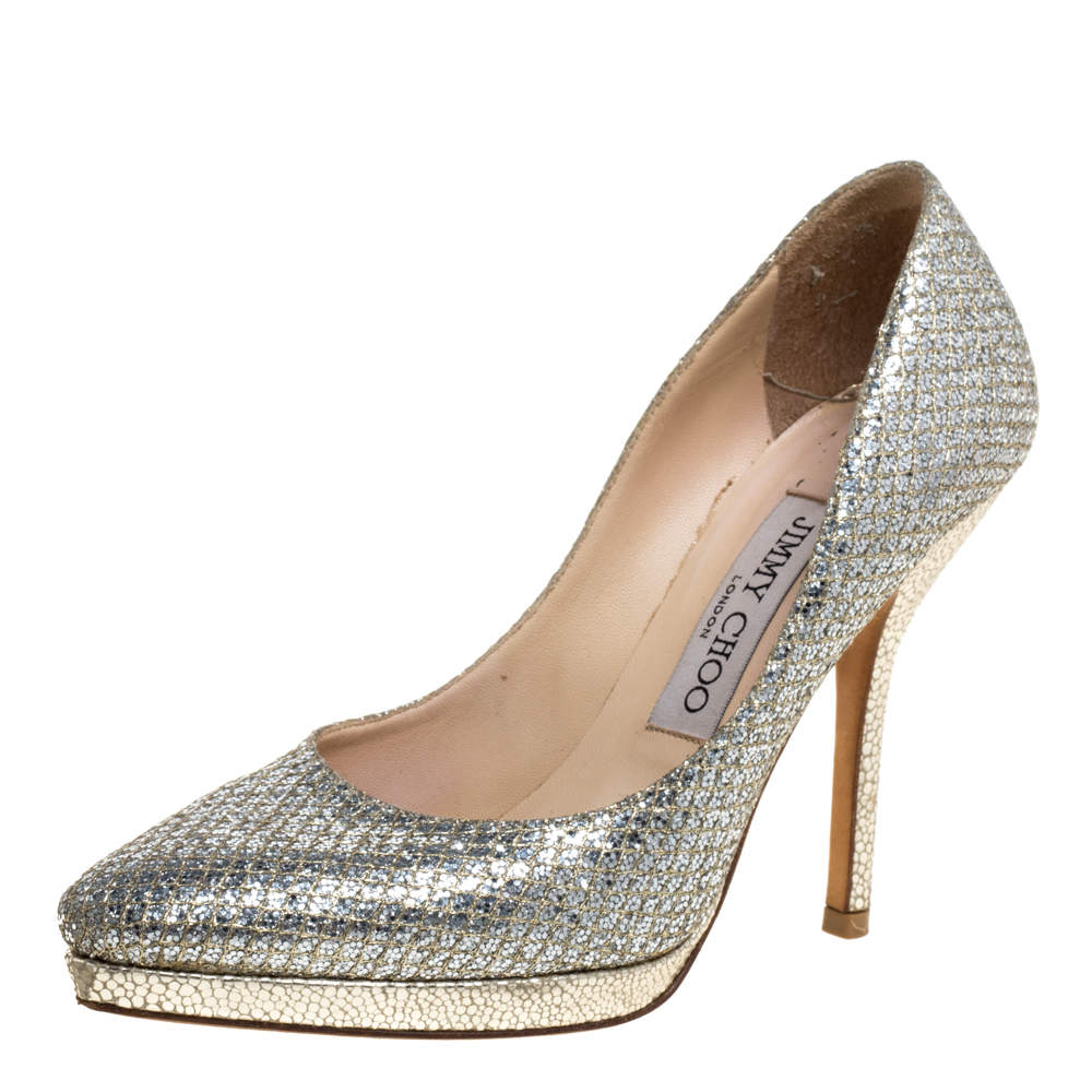 Jimmy Choo Silver Glitter Fabric And Lizard Embossed Leather Hope Platform Pumps Size 35.5