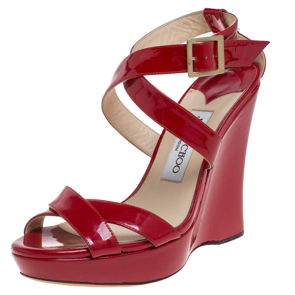 Jimmy Choo Red Patent Leather Lucia Wedge Sandals Size 36