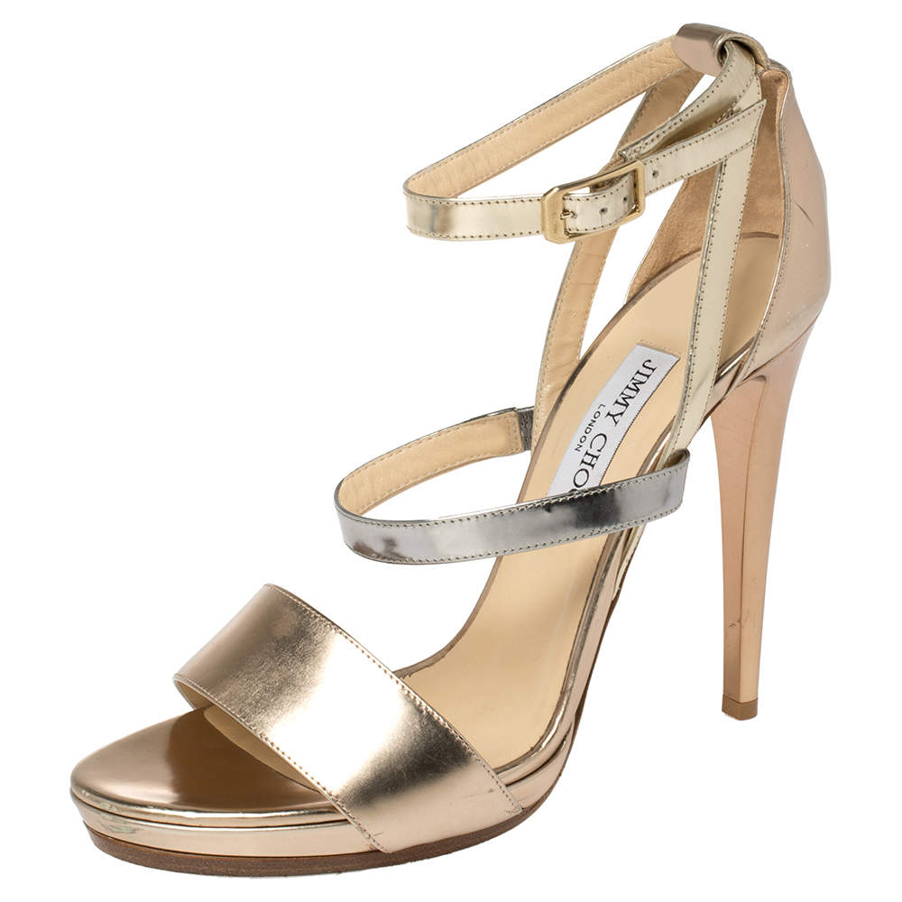 Jimmy Choo Gold Leather Dose Ankle Strap Sandals Size 41