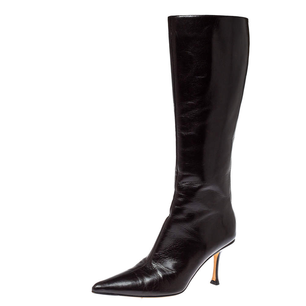 Jimmy Choo Brown Leather Peony Mid Calf Boots Size 38