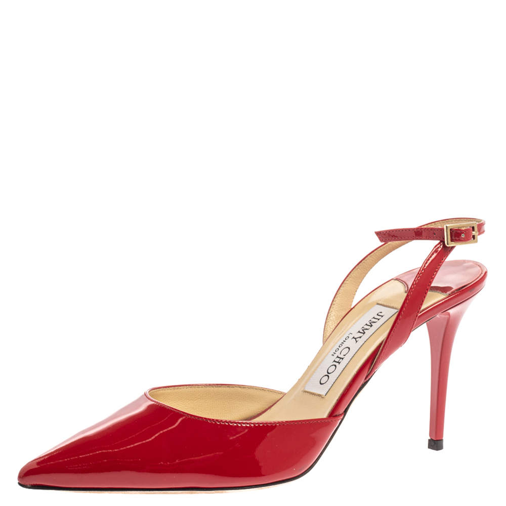 Jimmy Choo Red Patent Leather Tilly Pointed Toe Slingback Sandals Size 36.5
