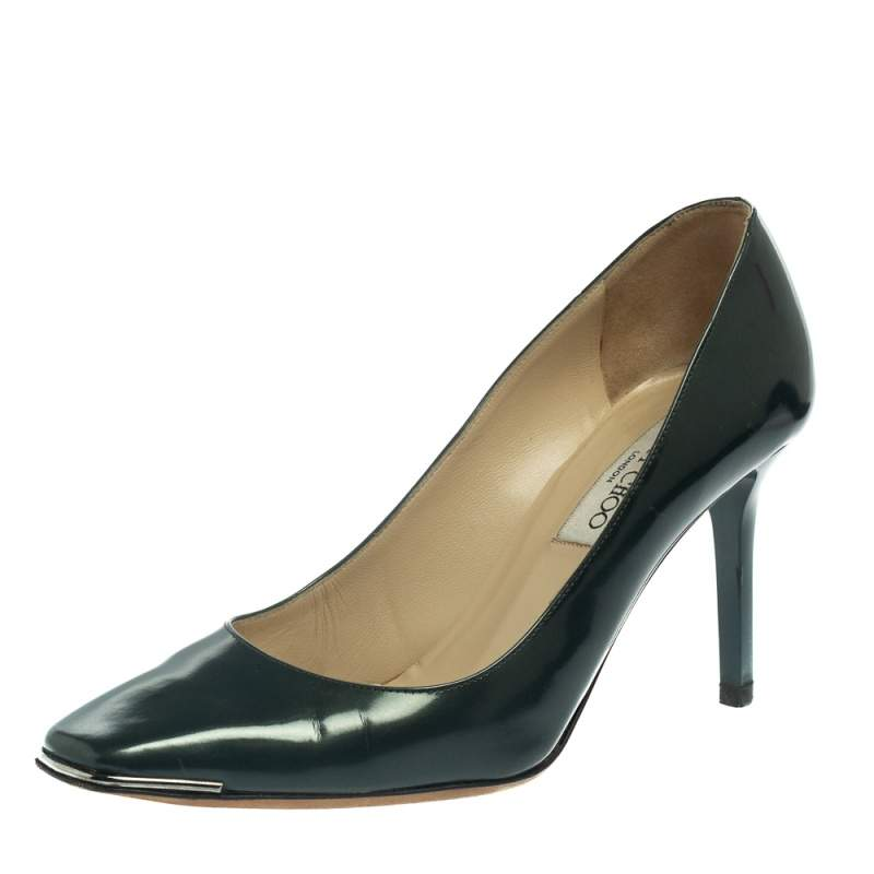 Jimmy Choo Green Patent Leather Square Toe Pumps Size 38