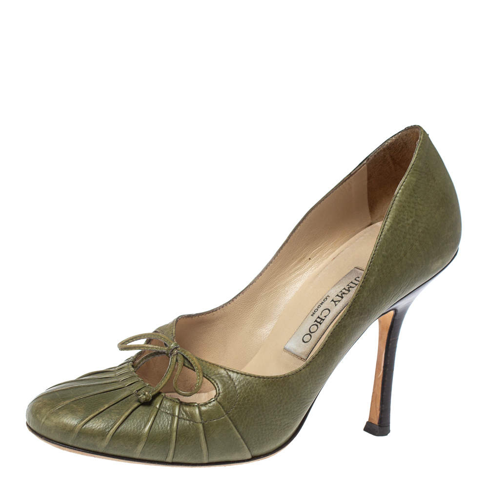 Jimmy Choo Olive Green Leather Bow Round Toe Pumps Size 37
