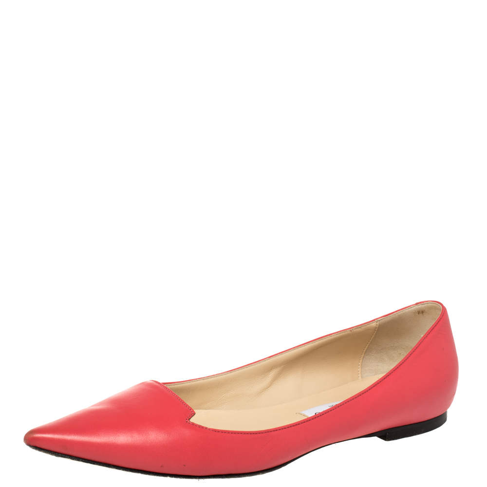Jimmy Choo Pink Leather Attila Pointed Toe Ballet Flats Size 38.5