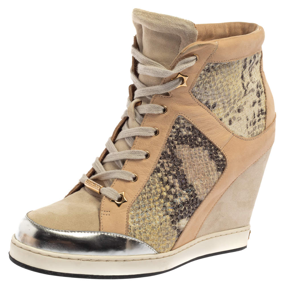 Jimmy Choo Beige/Silver Suede, Nubuck And Python Embossed Leather Panama Wedge Sneakers Size 39.5