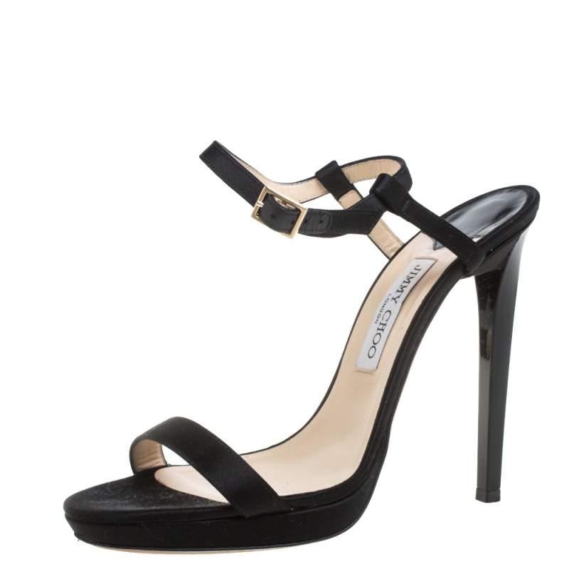 Jimmy Choo Black Satin Minny Ankle Strap Sandals Size 40