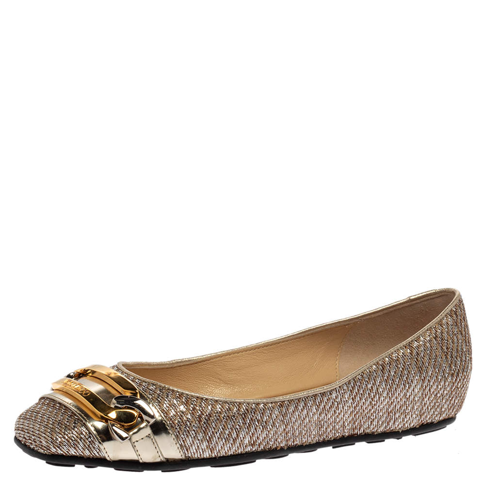 Jimmy Choo Brown/Silver Fabric Morse Buckle Ballet Flats Size 37