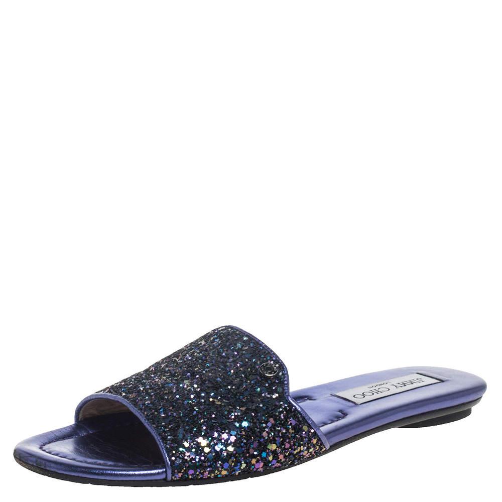 Jimmy Choo Metallic Purple Coarse Glitter Nanda Flat Slides Size 37
