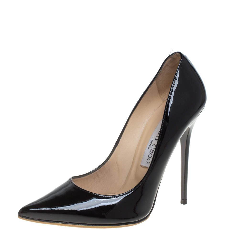 Jimmy Choo Black Patent Leather Romy Pointed Toe Pumps Size 37.5