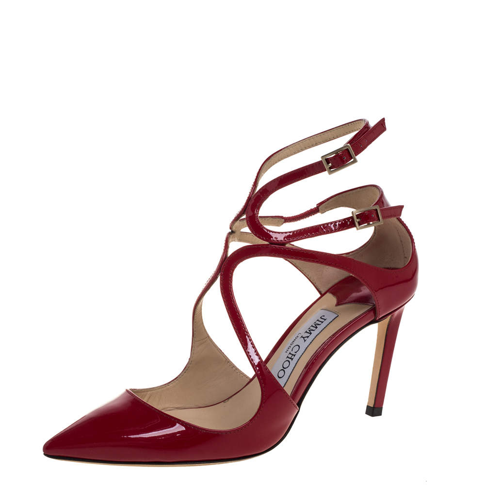Jimmy Choo Red Patent Leather Lancer Pumps Size 36.5