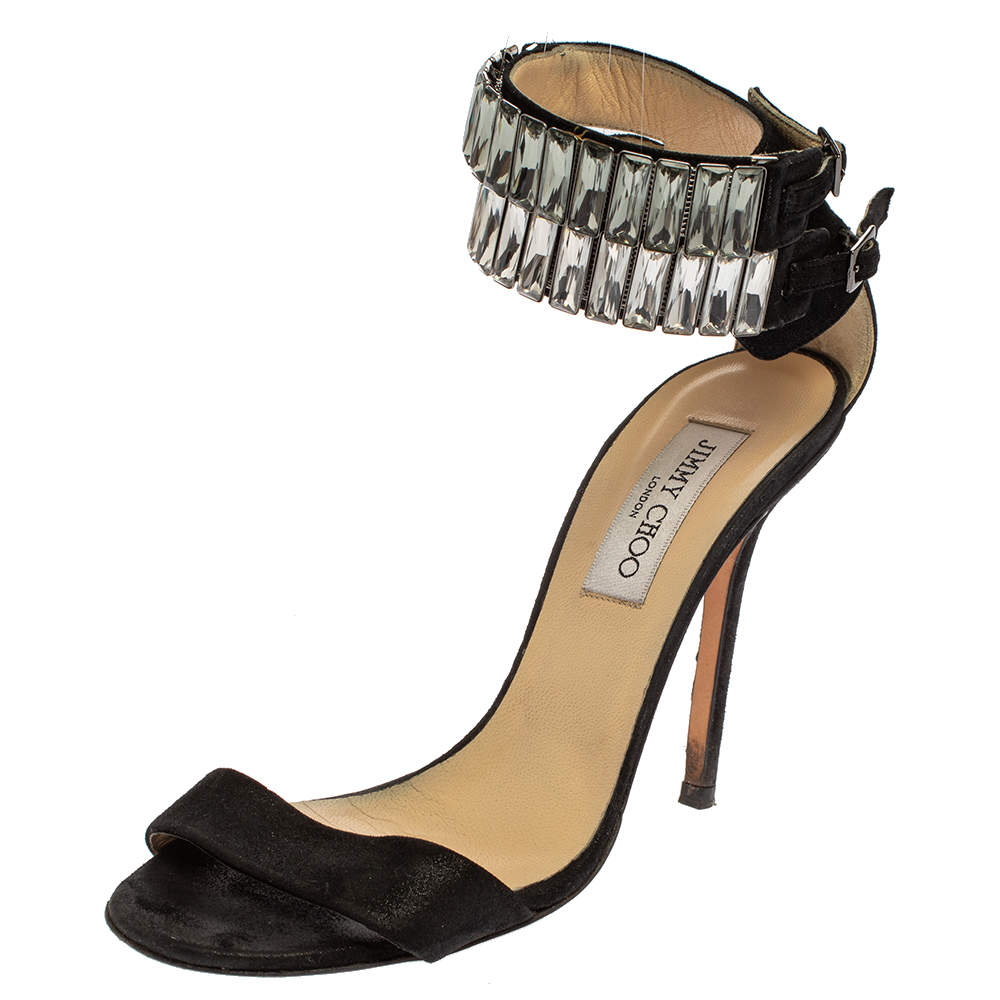 Jimmy Choo Black Glitter Nubuck Crystal Embellished Ankle Cuff Sandals Size 38.5