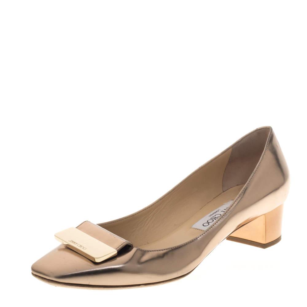حذاء كعب عالي جيمي تشو ايريس مقدمة مربعة جلد ذهبي وردي ميتاليك مقاس 38.5