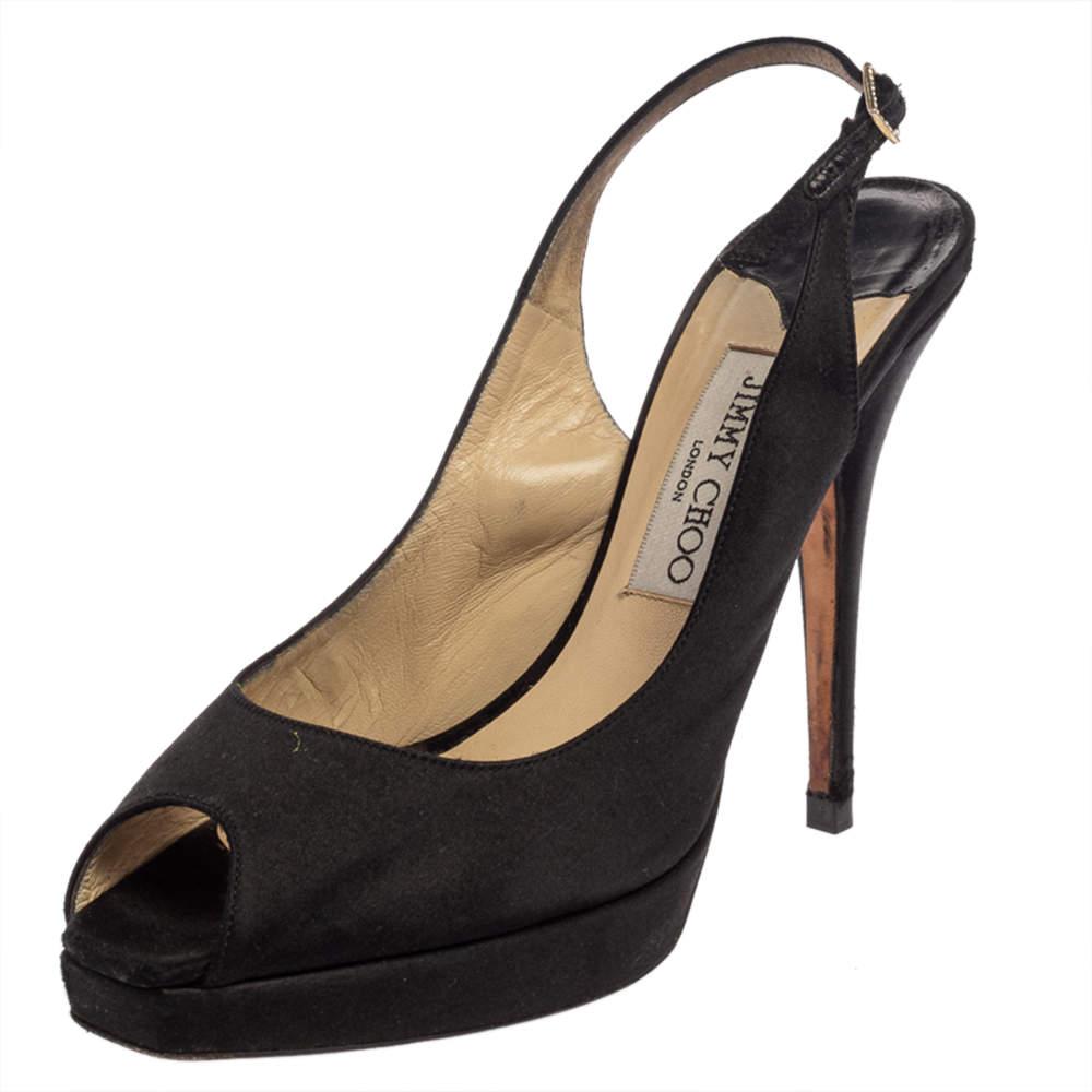 Jimmy Choo Black Satin Clue Peep Toe Platform Slingback Sandals Size 39