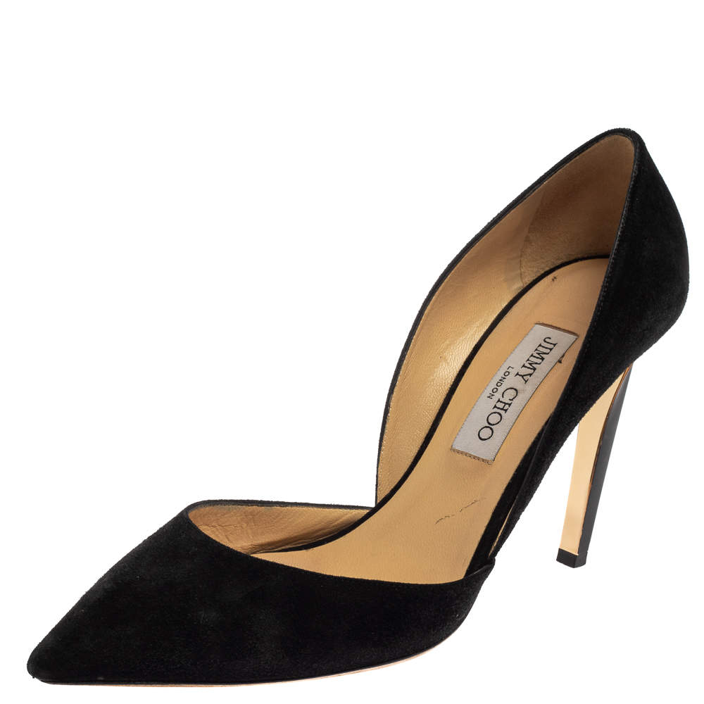 Jimmy Choo Black Suede Darylin Pointed Toe Pumps Size 40.5