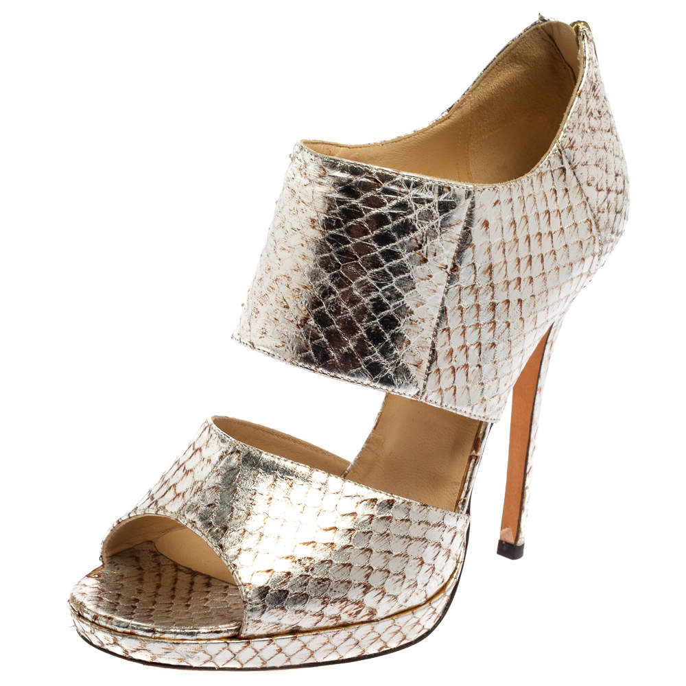 Jimmy Choo Silver Python Embossed Leather Private Peep Toe Sandals Size 40