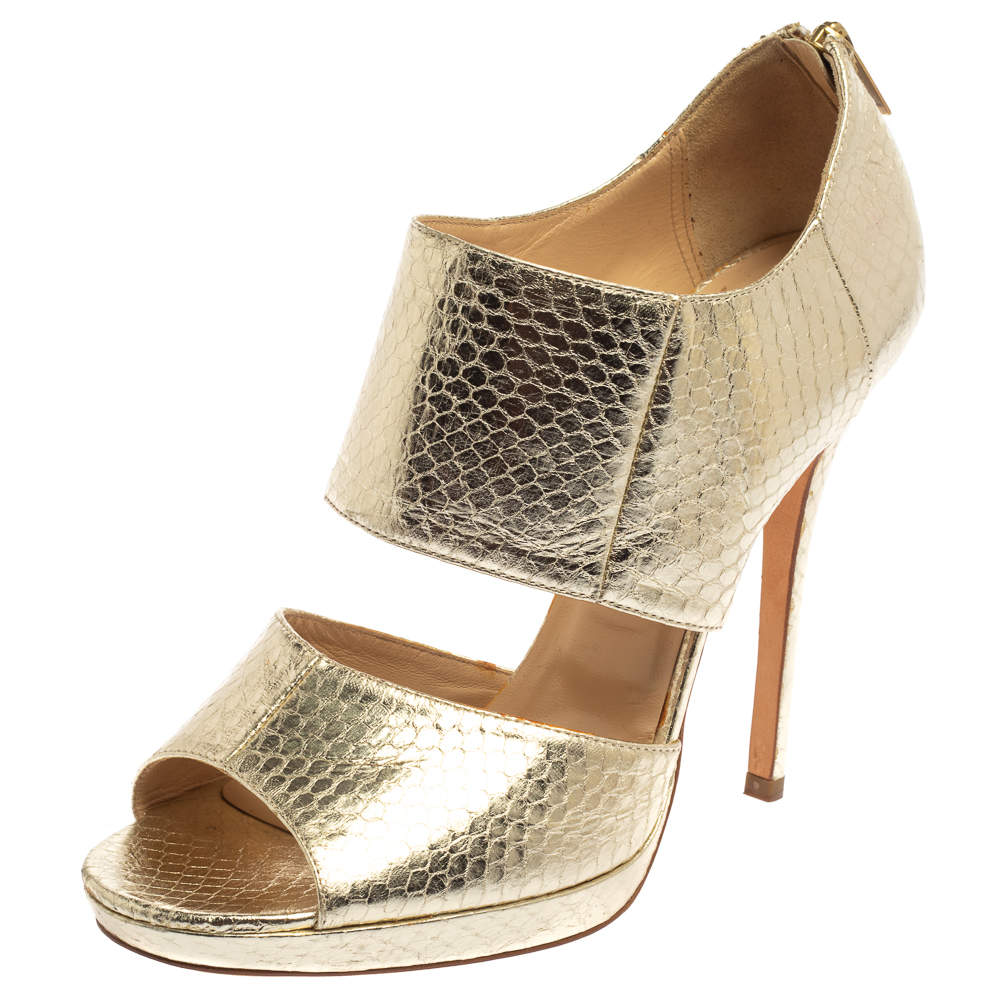 Jimmy Choo Gold Python Embossed Leather Private Peep Toe Sandals  Size 40