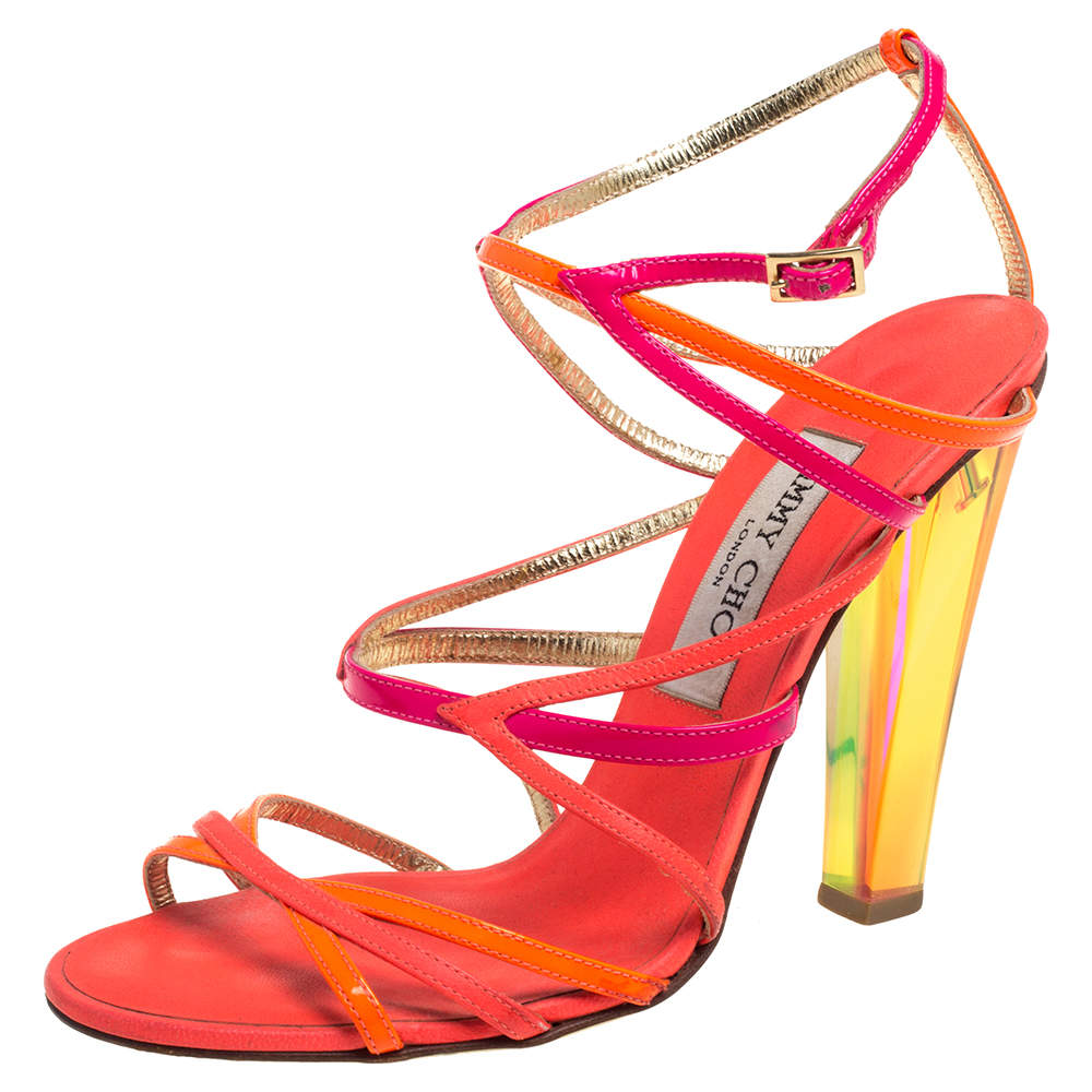 Jimmy Choo Neon Pink/Orange Leather Strappy Sandals Size 37.5
