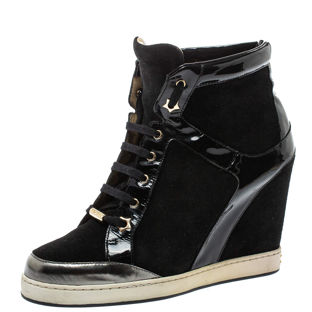 Jimmy Choo Black Patent Leather and Suede Panama Wedge Sneakers Size 39