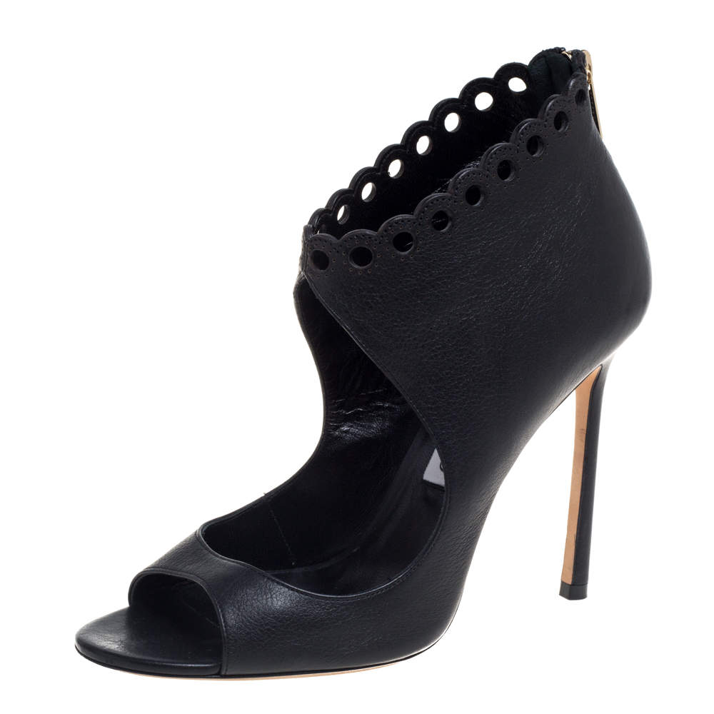Jimmy Choo Black Leather Cutout Bootie Size 38.5
