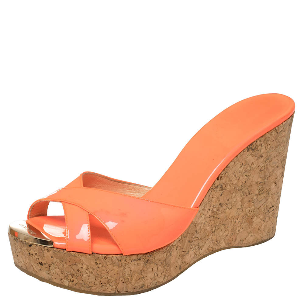 Jimmy Choo Neon Orange Patent Leather Prima Cork Wedge Platfrom Sandals Size 40.5