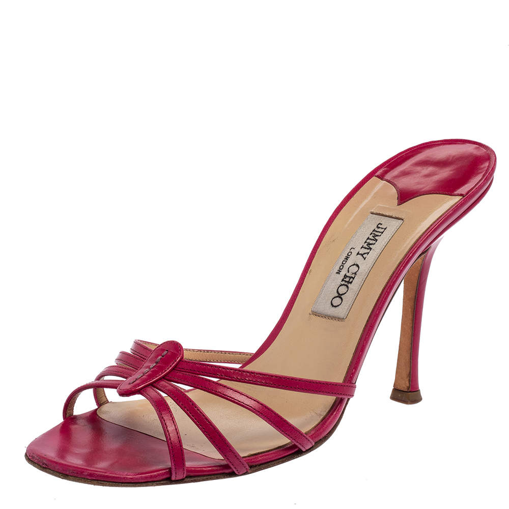 Jimmy Choo Pink Leather Slide Sandals Size 41