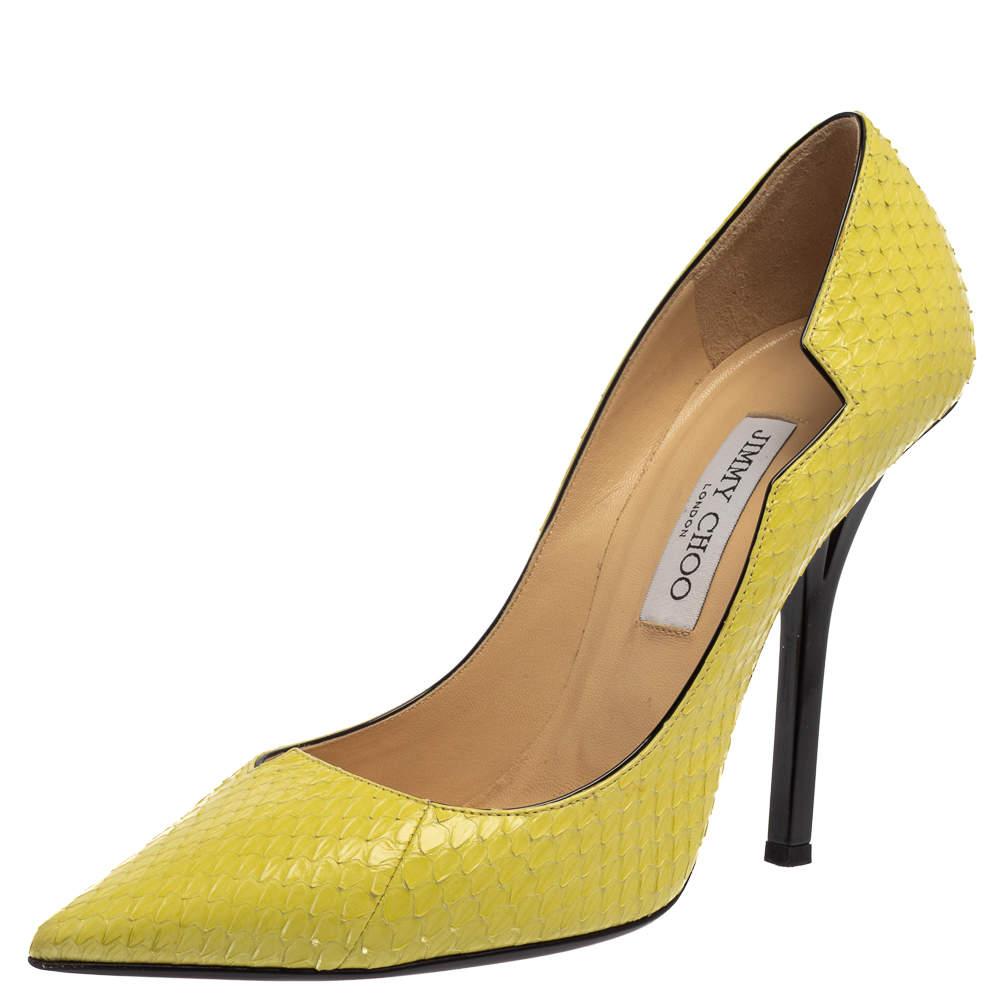 Jimmy Choo Lemon Yellow Python Leather Pumps Size 39.5