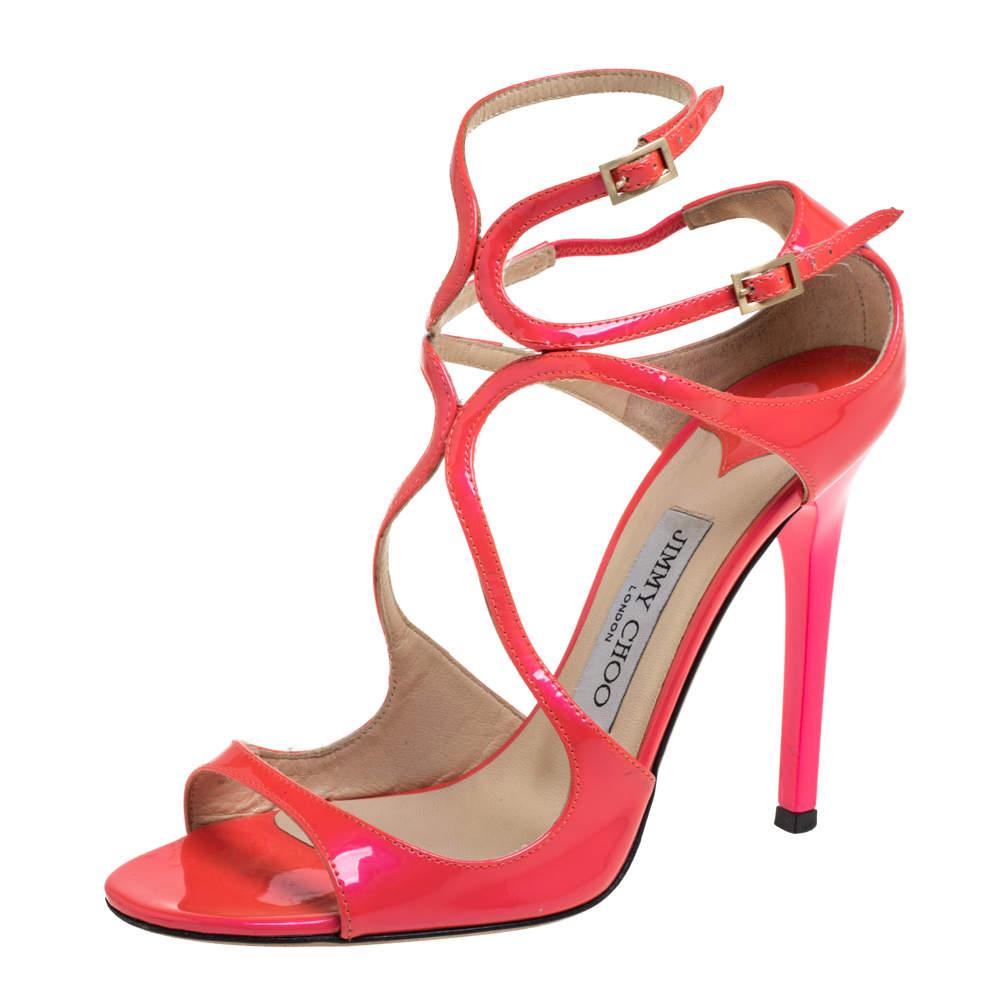 Jimmy Choo Pink Patent Leather Lance Strappy Sandals Size 37