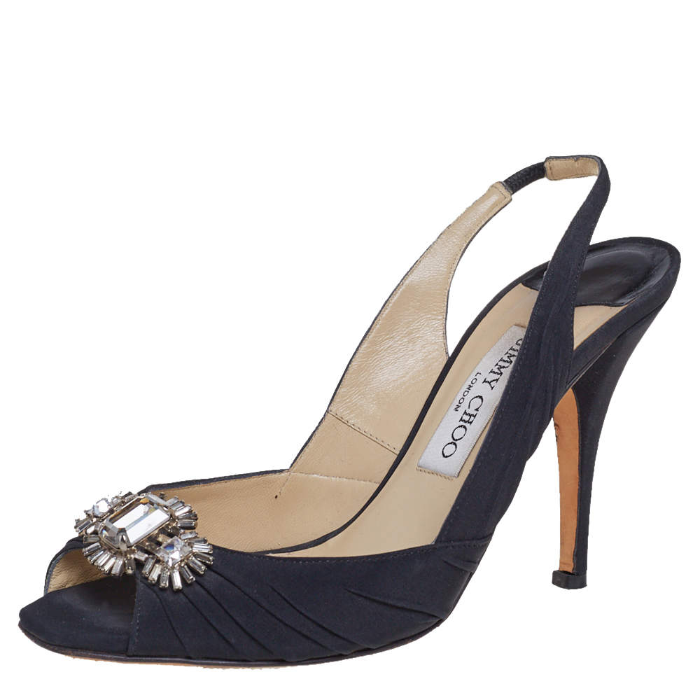 Jimmy Choo Black Fabric Slingback Sandals Size 37