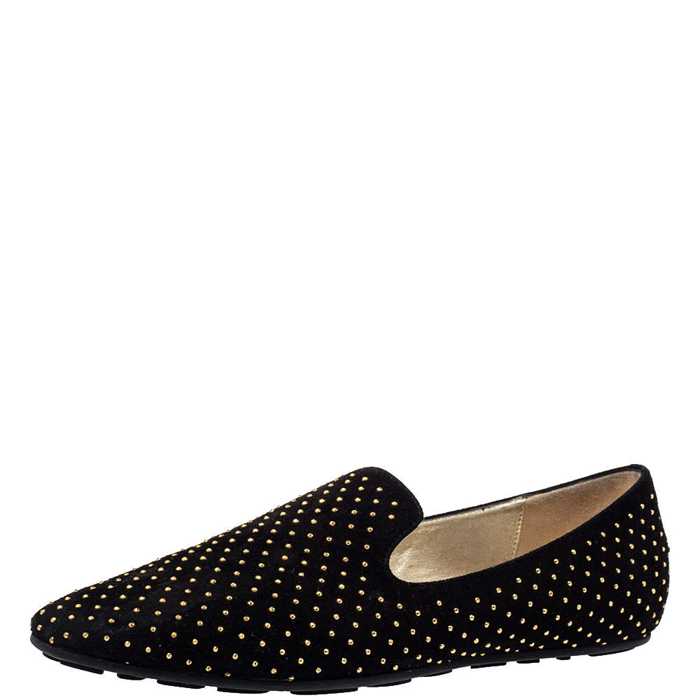 Jimmy Choo Black Suede Studded Loafers Size 38