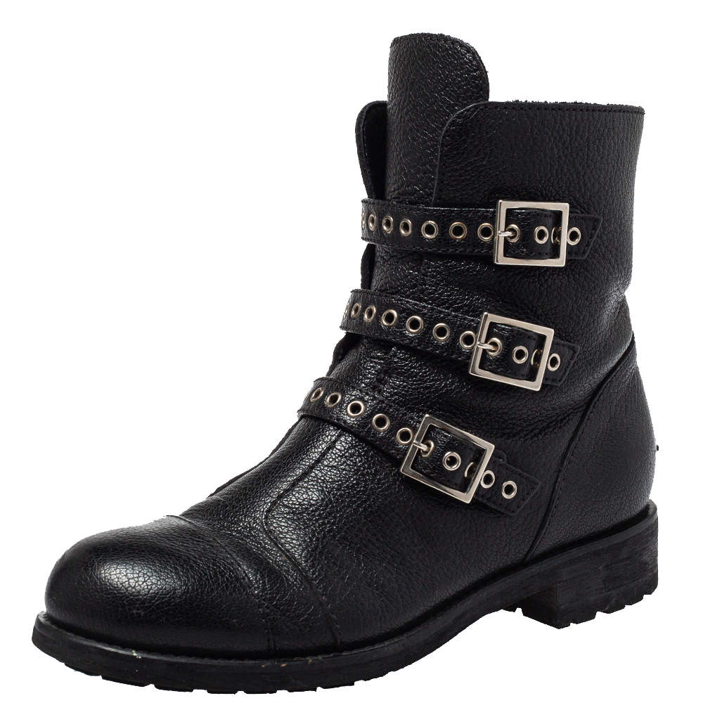 Jimmy Choo Black Leather Rivets Ankle Boots Size 35.5