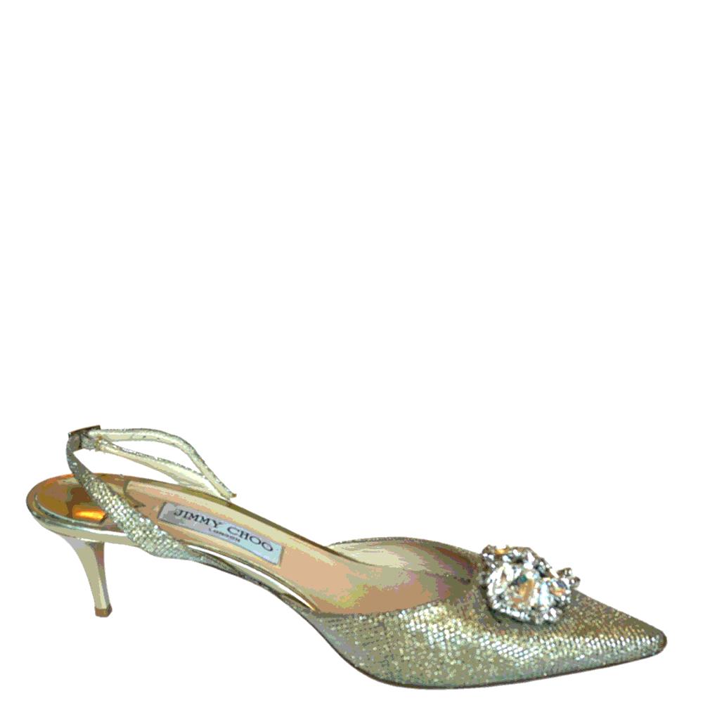 Jimmy Choo Gold Metallic Crystal Embellished Pointed Toe Pumps Size EU 41