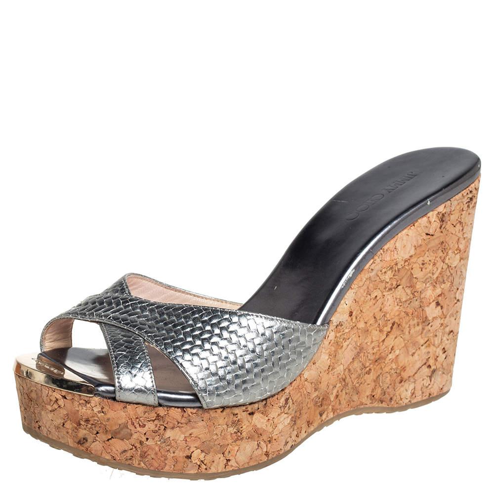 Jimmy Choo Silver Leather Crisscross Prima Cork Wedge Slide Sandals Size 39