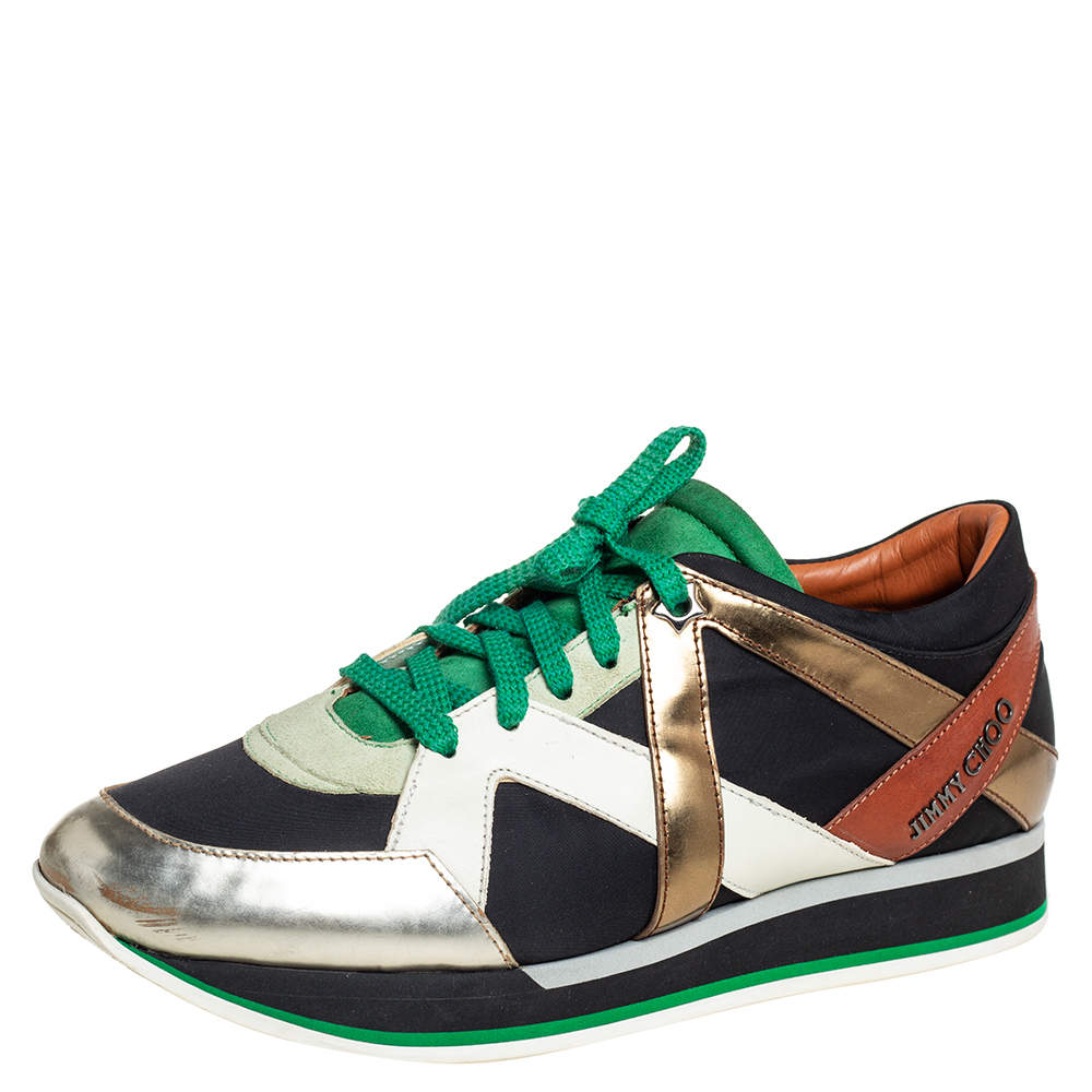 Jimmy Choo Multicolor Suede And Leather Low Top Sneakers Size 40