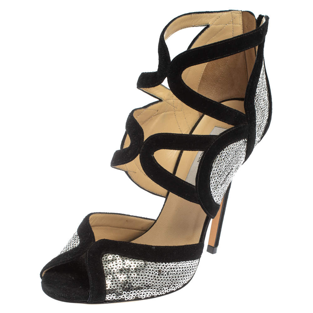 Jimmy Choo Silver/Black Suede and Sequins Tempest Sandals Size 38.5
